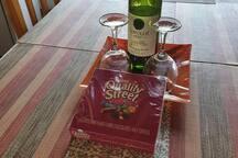 Bottle wine and something sweet