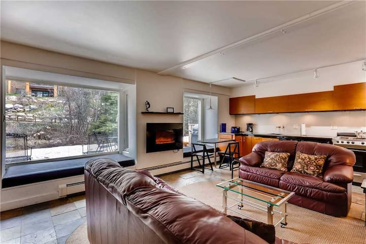 Garden-level Condo with Patio on creek, walk to Golden Peak, Vail Village | Vail Trails East 1B