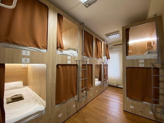 Capsule bed in common room - Capsule Hostel