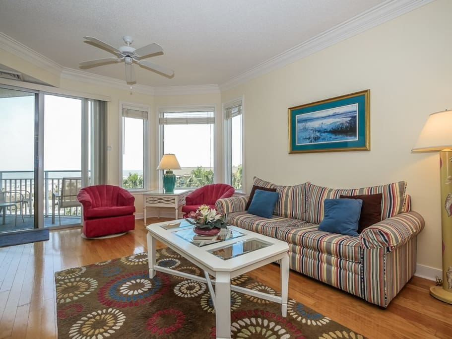 Living Room with Ocean Views at 2410 Sea Crest