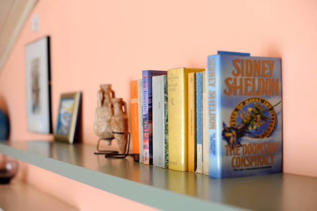 Our guests can take any of the books on the shelf to read