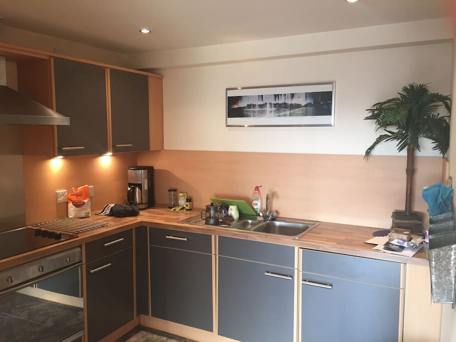 The modern kitchen includes a washer/dryer, dishwasher, cooker, microwave and fridge. It is fully equipped.
