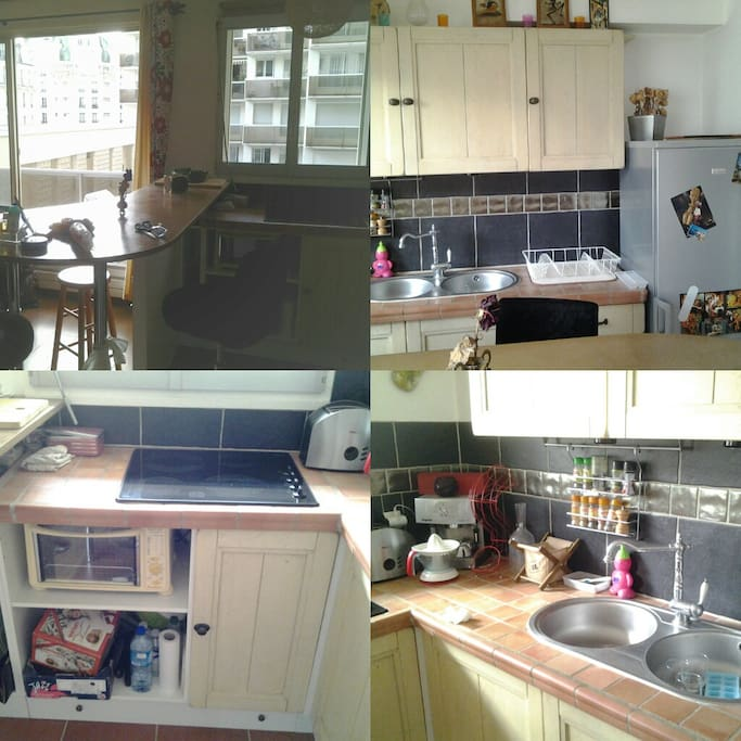 Fully equiped kitchen (fridge, oven, cooktop, dishes, etc.)