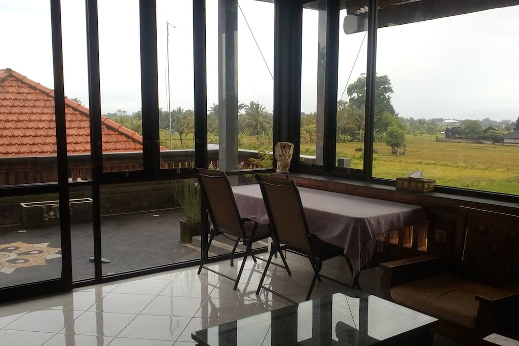 A reasonably big working space and sitting area over seeing the ricefield