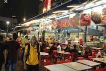 Food galore at Jalan Alor(250m)