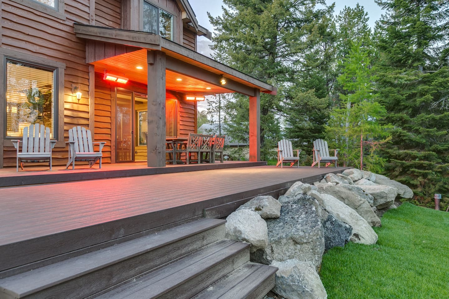 Back deck overlooks gorgeous views of the lake