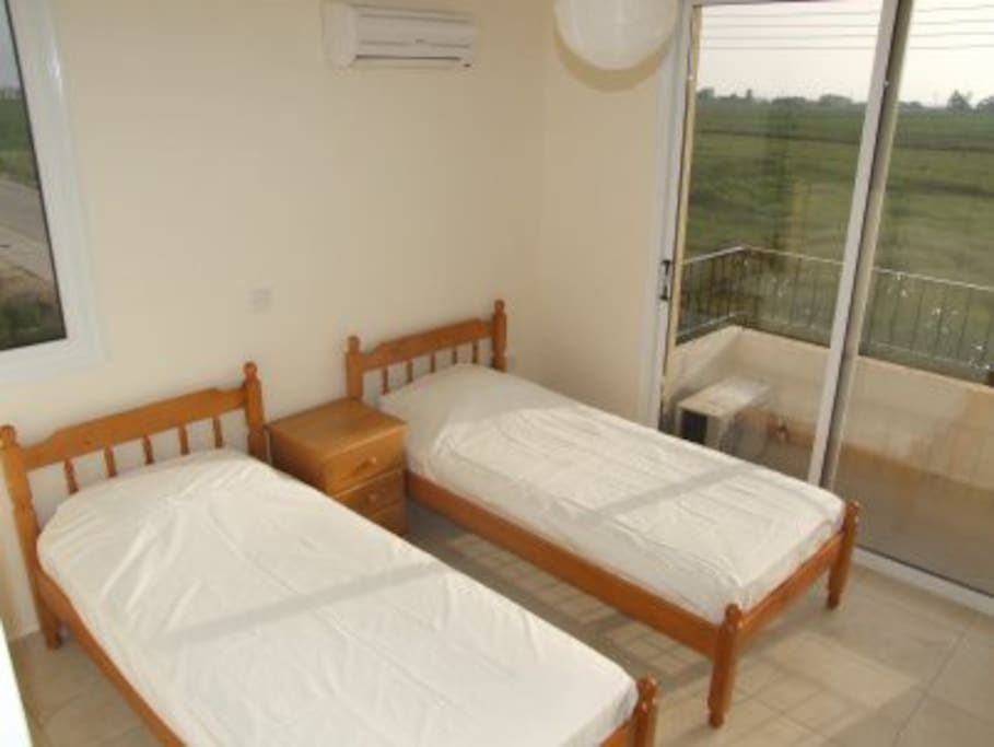 This is the twin bedroom, with two single beds and a lovely view too