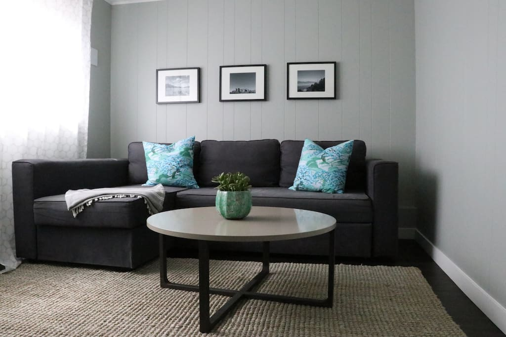Living room with pull out couch.
