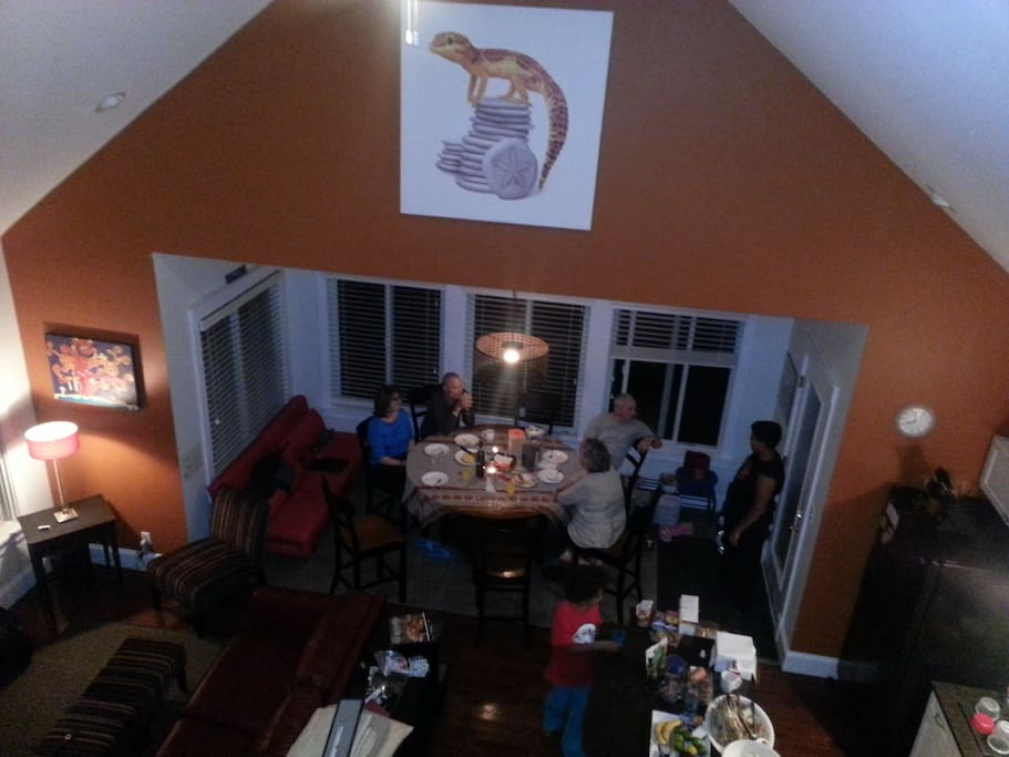 View of main living area from the loft.  The loft itself includes a