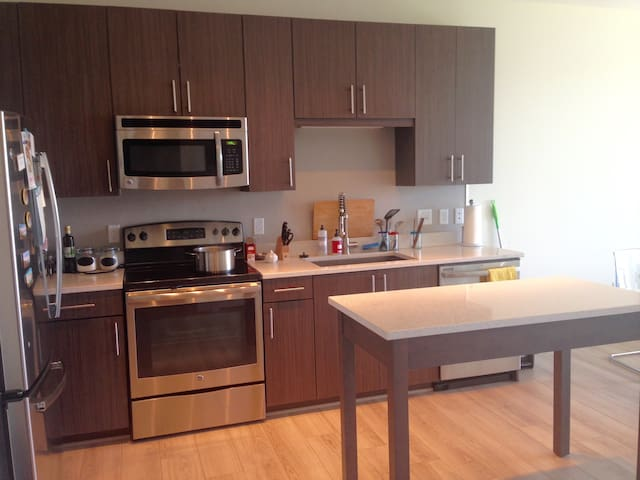 new kitchen with new appliances (dish washer, oven, microwave, fridge, washer/dryer)