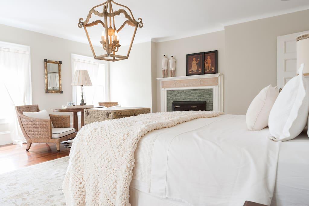 Bedroom has lots of natural light