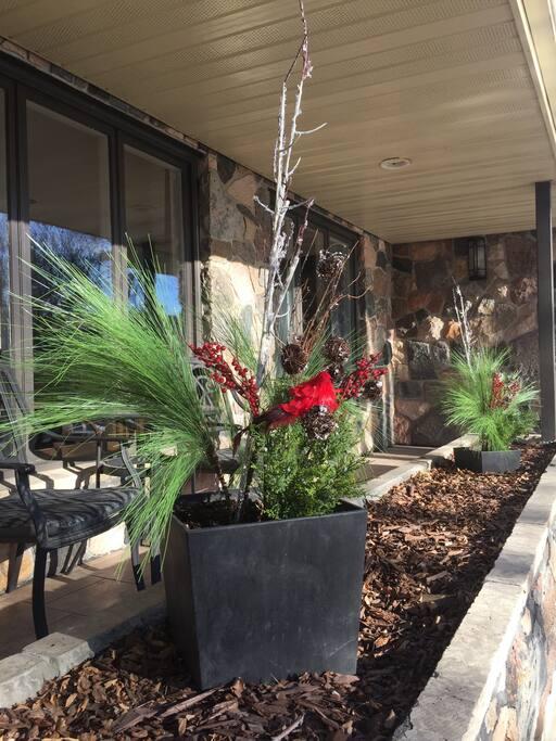 Seasonal decor to set the holiday mood on the front veranda.