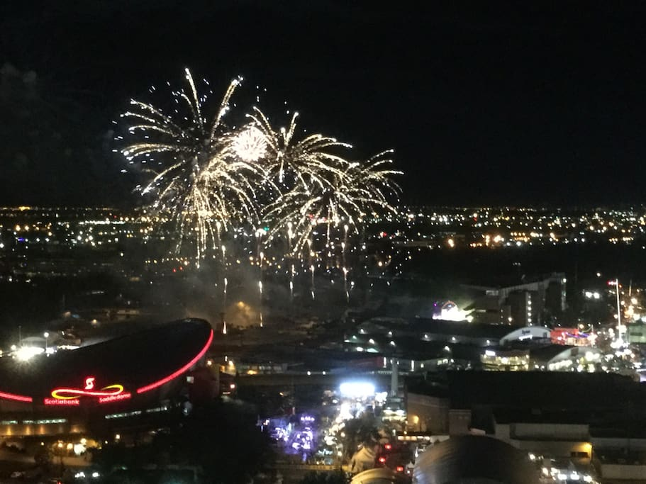 Stampede Fireworks view over the Saddledome!