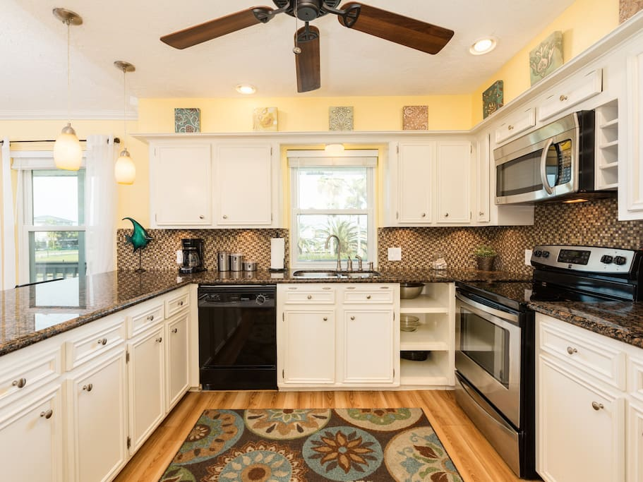 The kitchen is fully stocked with all dishes/cookware and a complimentary coffee station.