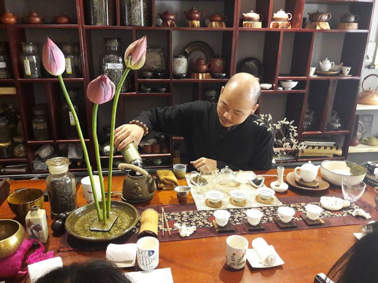Mr. Nguyen Viet Hung - the Tea Master in Vietnam is brewing the special Lotus Tea made by us