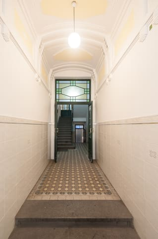 entrance hall to the house is beautifully preserved from 19th century