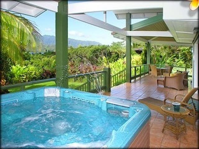 Therapeutic Spa for 7 Overlooks Miles of Tropical Paradise, Fruit Trees & Sunset