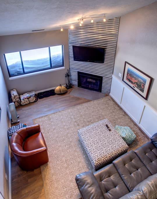 View of living room from loft area