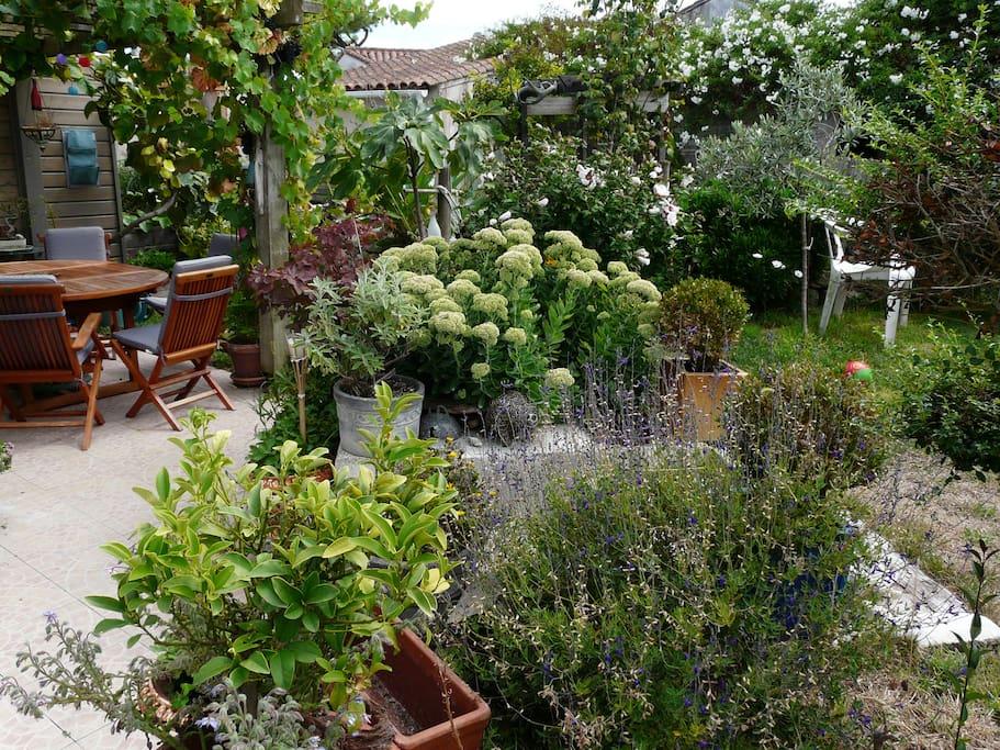 Jardin fleuri, avec terrasse accès libre pour les voyageurs, table chaises et transat à disposition