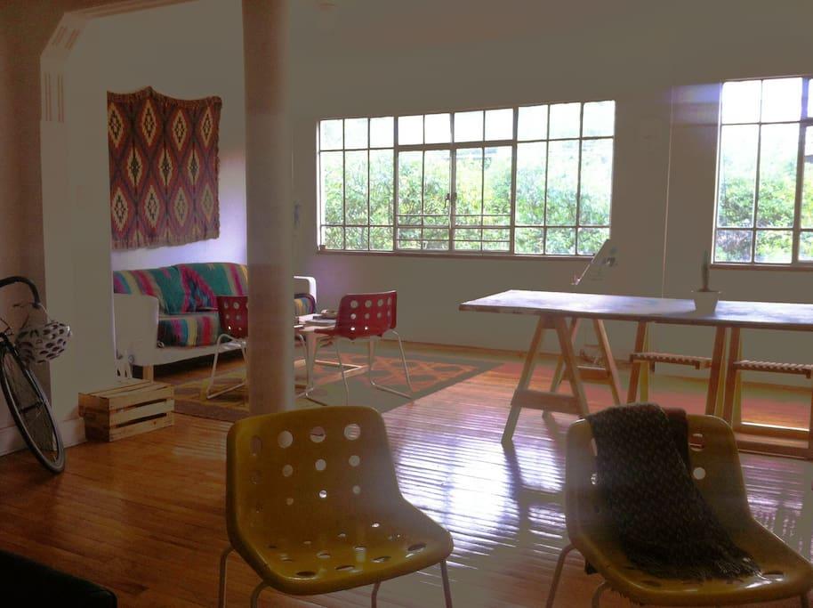 open floorplan and well-lit living area.