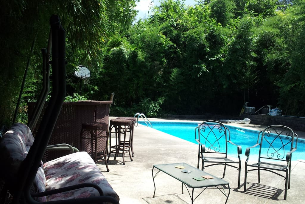 You can take a dip in the pool, but must ask first for availability.