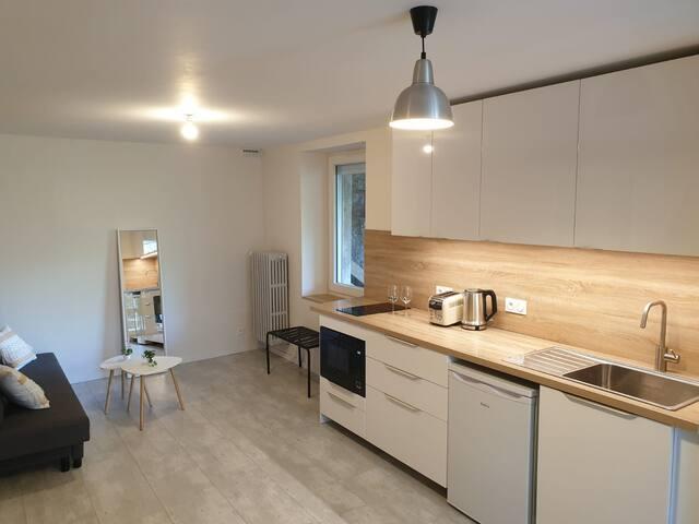 Appartement 1 chambre, RDC, calme, grande terrasse