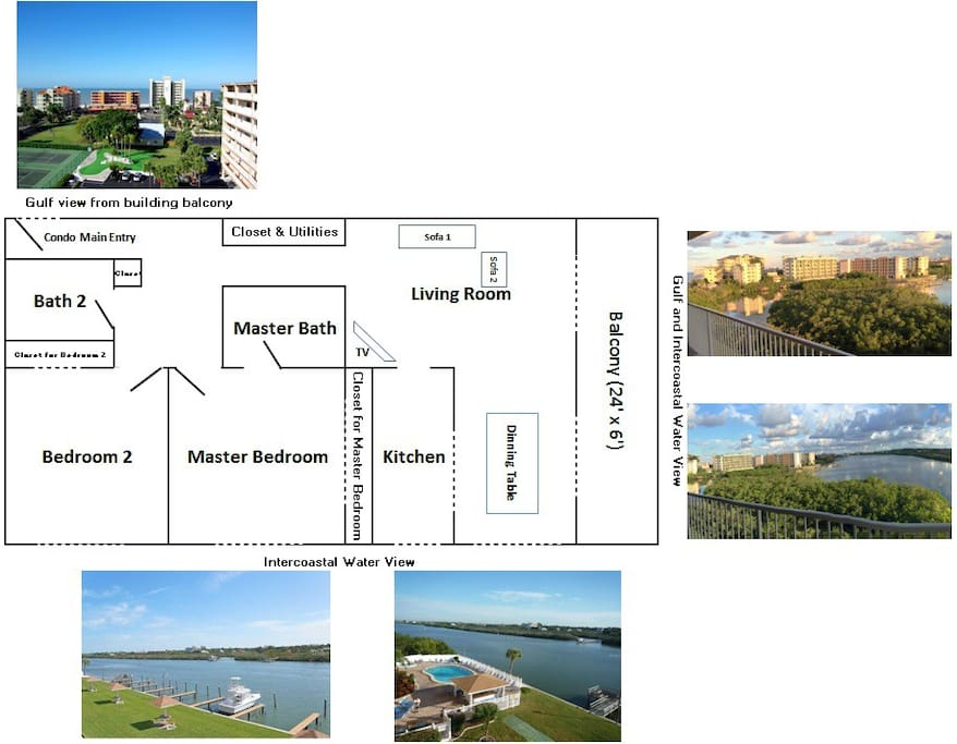 Unit layout and gorgeous views from various spots.