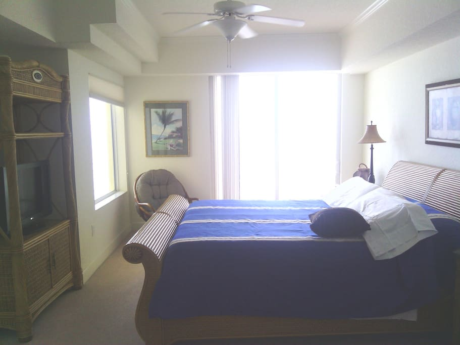 Master bedroom with private balcony access