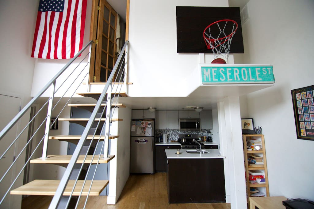 Stairs to the bedroom available for rent (and custom 10' basketball hoop)