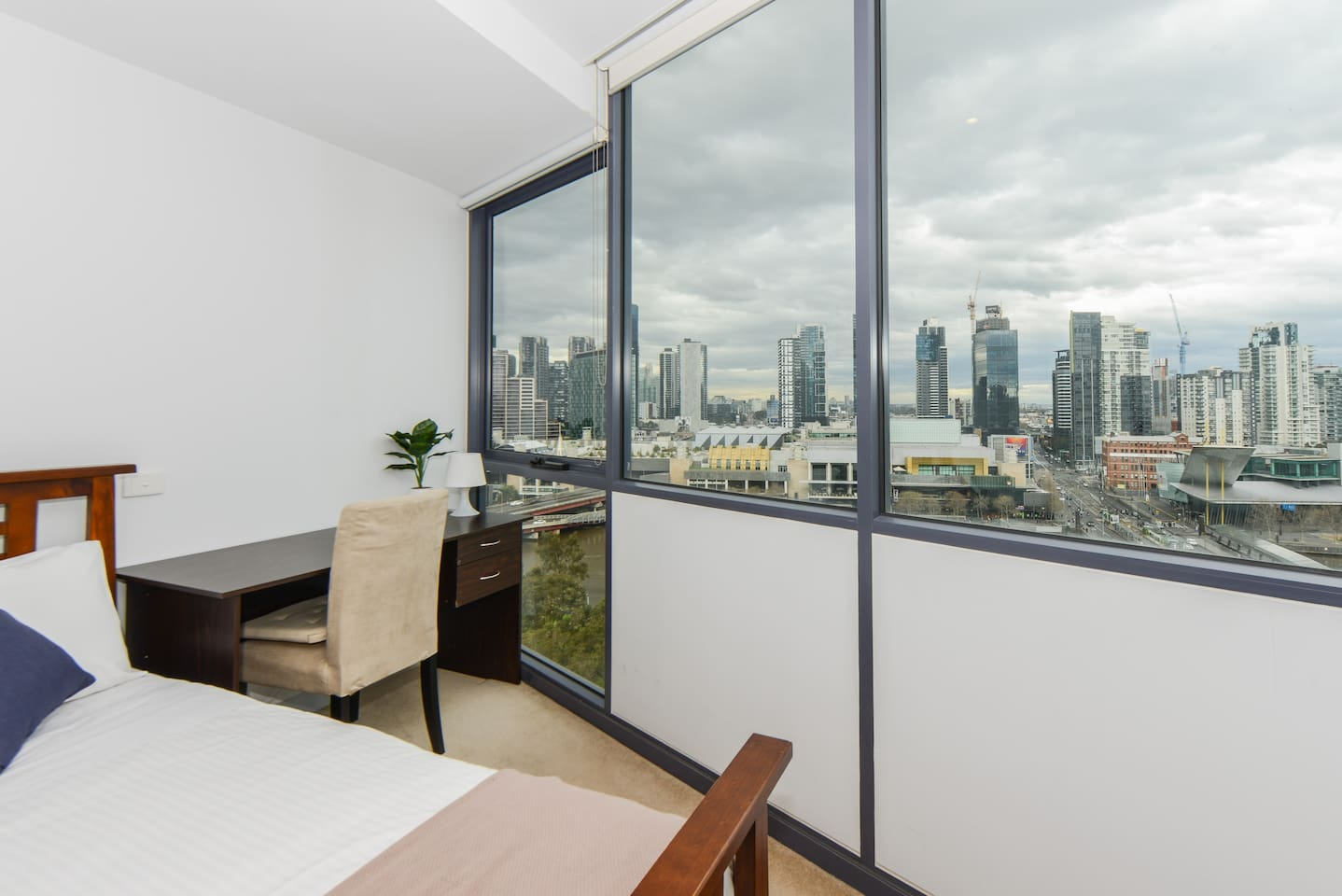 Master bedroom with view of the Yarra