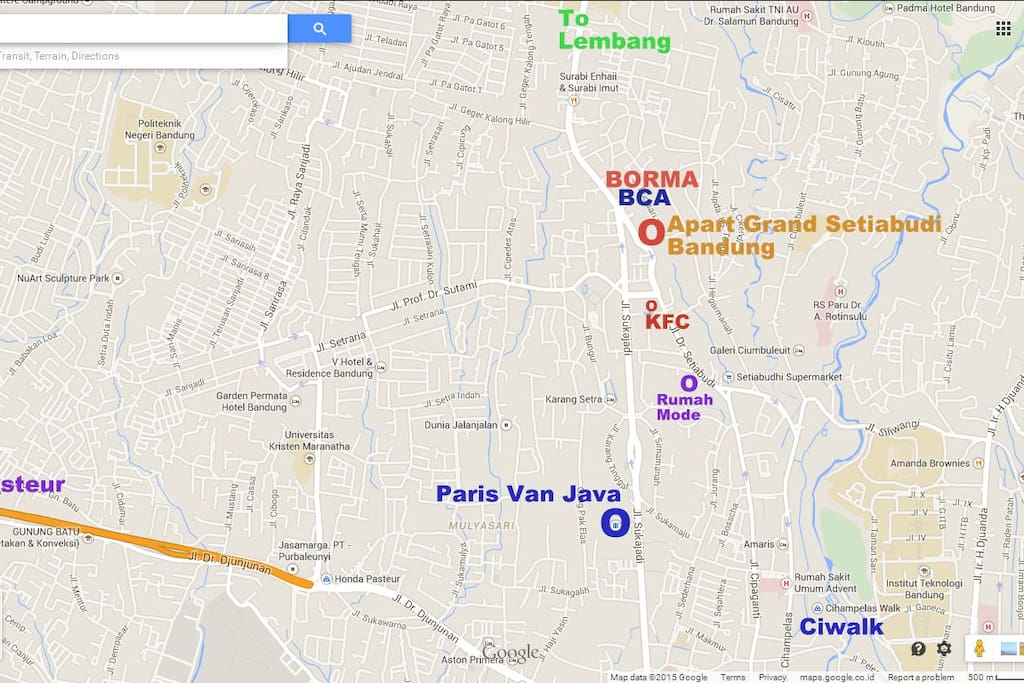 Map of Apartment Grand Setiabudi Bandung