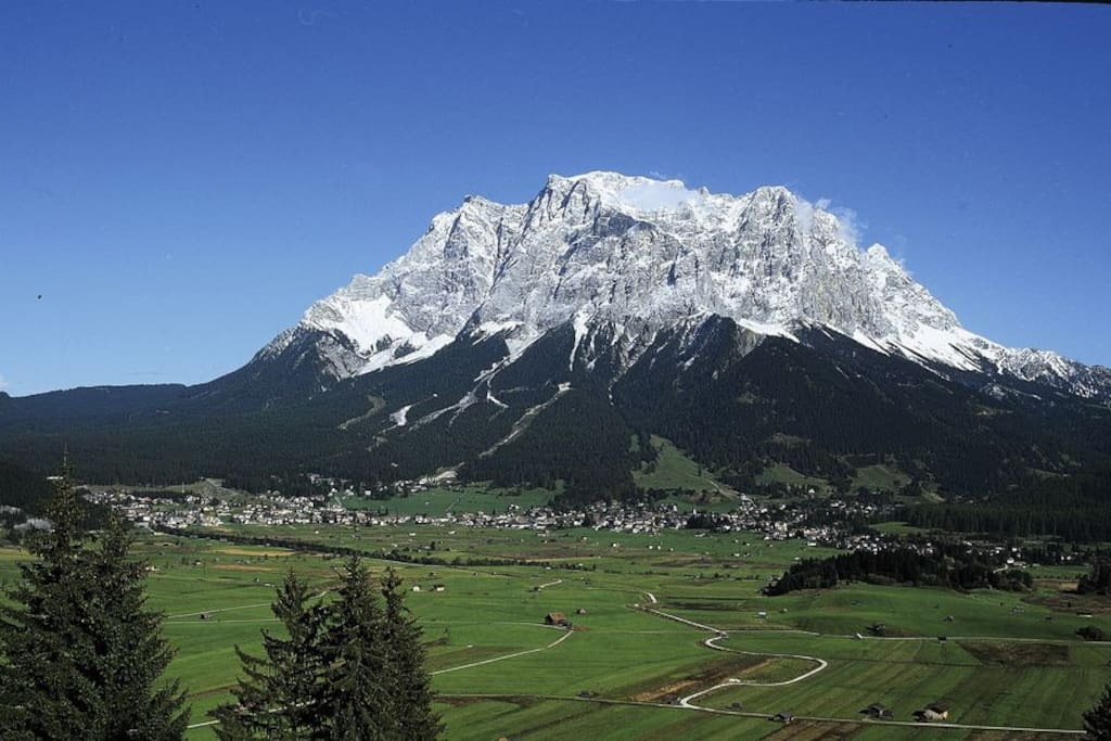Ehrwald is located at the foot of the Zugspitze (2962)