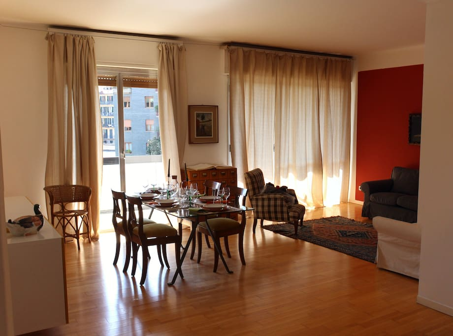 Dining and living room, with the shining terrace