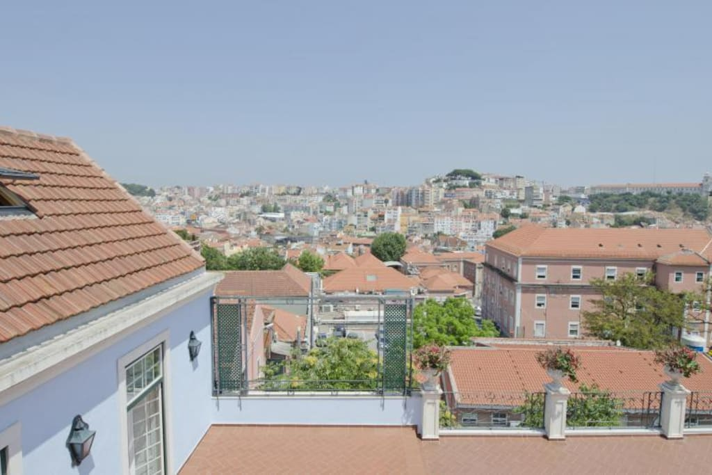 Very nice view from the room over historical Lisbon.