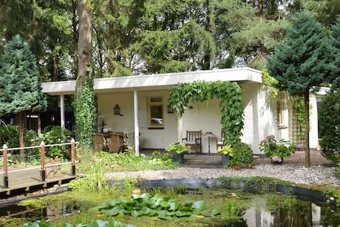A detached bungalow with outdoor fireplace, covered terrace and pond in a forest plot