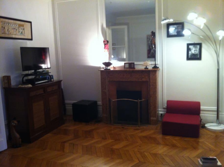 Beau salon avec cheminée