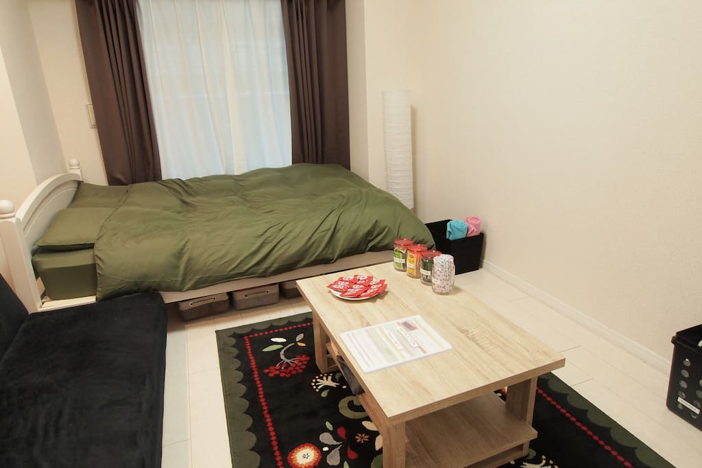 There are 25 square meters (269 square feet). Up to 3 people can stay there!!