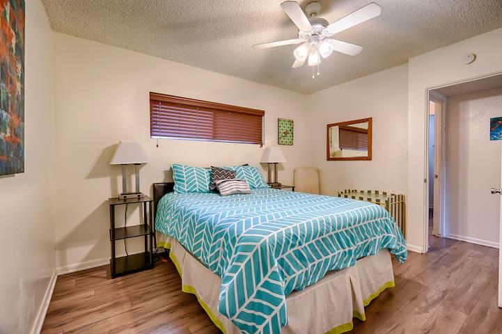 Cozy queen bed and bedroom