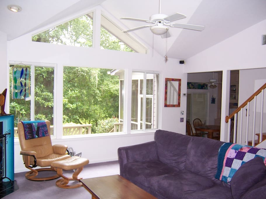 Light and airy living space. Large comfy couch