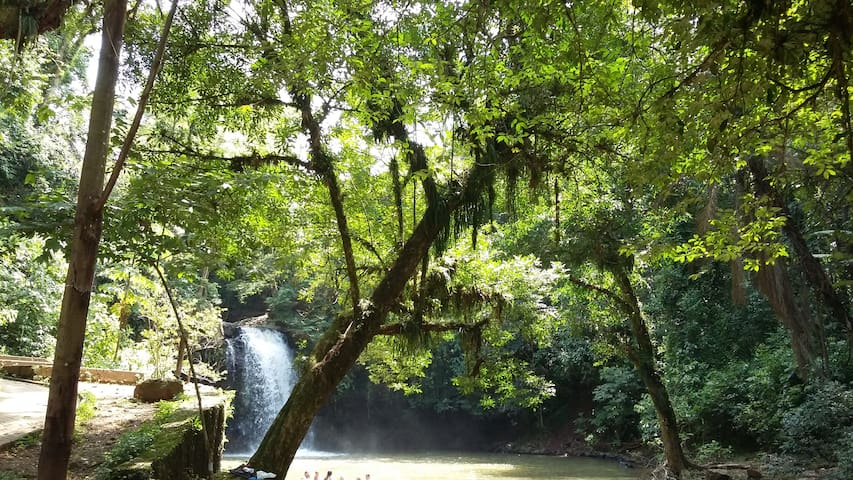 Cachoeira  a 8 km da propriedade ,ótima estrada toda asfaltada
