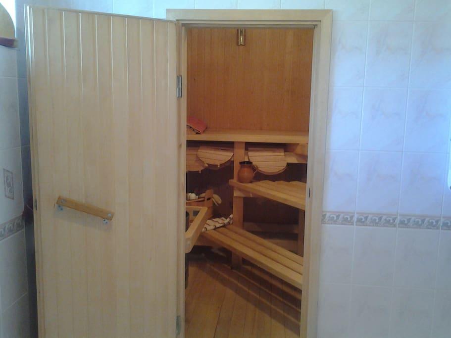 sauna with shower