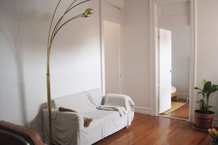 Welcome!   Simply furnished, minimal, spacious, bright. The apartment is in a beautiful charming prewar building on a quiet street.  Comfortable wall bed with a new mattress. Room has a good size desk, shelve space , and an office chair.