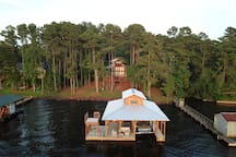 Aerial view of boathouse and lakehouse