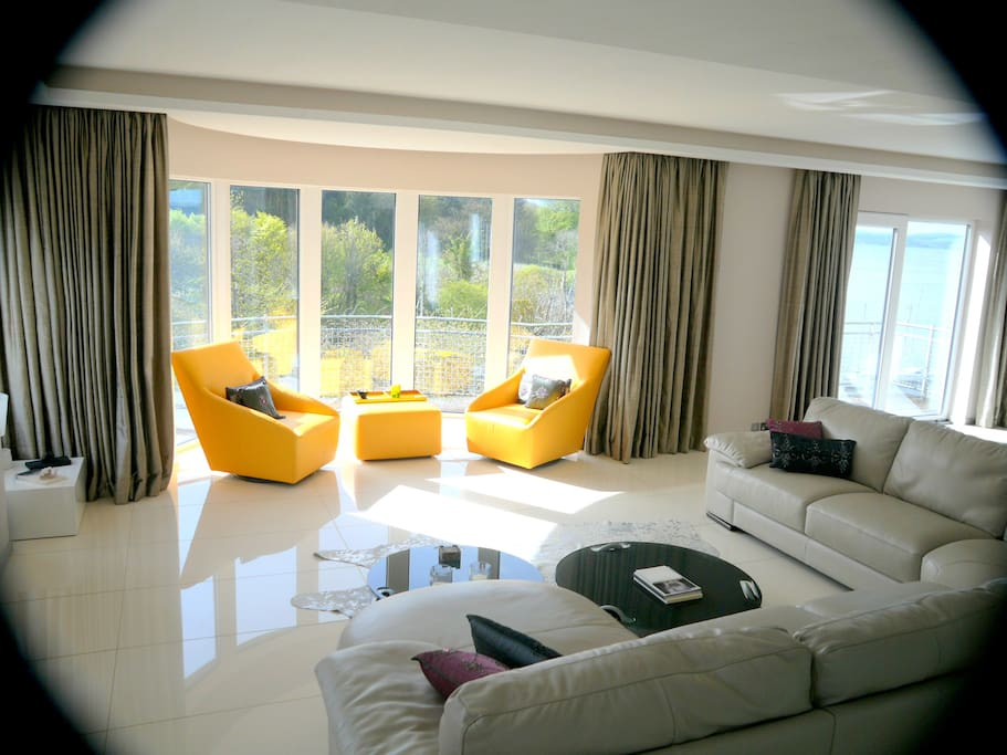 Main Lounge at entry level. Fabulous views over River Almond and Firth of Forth
