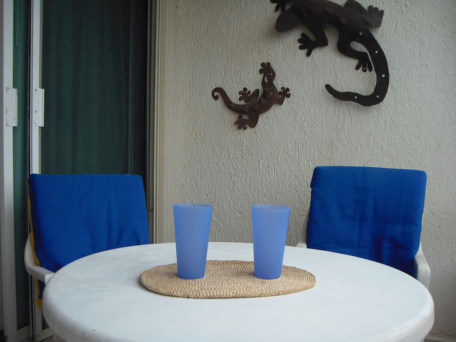 Table and chairs in our balcony