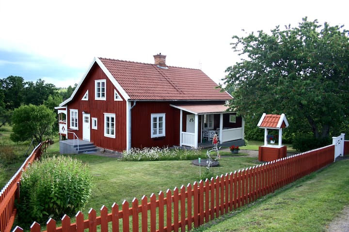 Newly renovated red house with white trim. - Bösebo