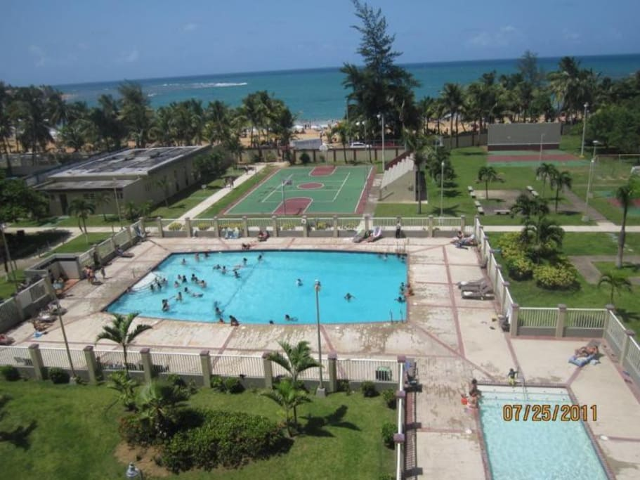 kids pool; Adults pool; Basketball court and Tennis court