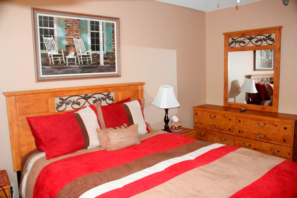 Queen sized master bedroom with European pillow top mattress