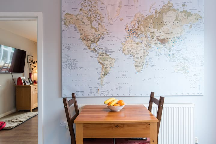 If you don't want to eat in the conservatory you can eat in the kitchen and plan your next trip on our large world map!