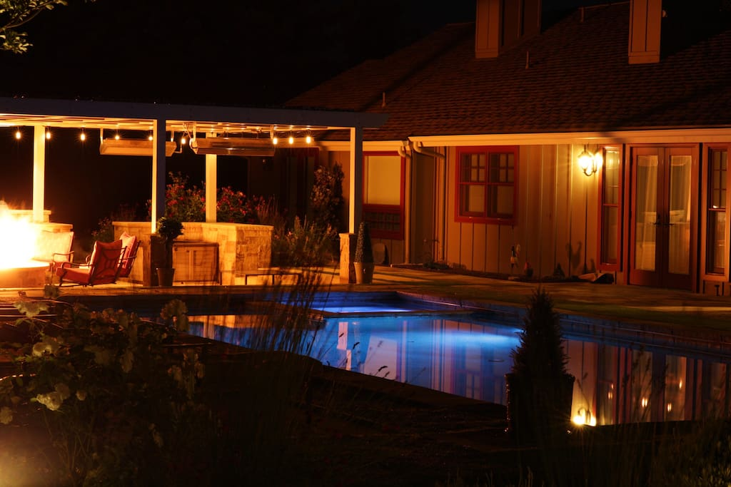 Pool and Fire Pit (Night)